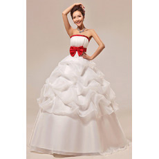 Affordable Ball Gown Strapless Long Wedding Dresses with Red Belts