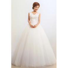 V-Neck Ball Gown Floor Length Organza Dresses for Spring Wedding