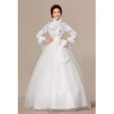 Long Sleeves High-Neck Ball Gown Floor Length Satin Wedding Dresses