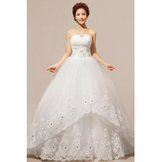 Custom Strapless Floor Length Organza Ball Gown Wedding Dresses