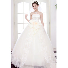 Custom Elegant Ball Gown Strapless Floor Length Beaded Wedding Dresses