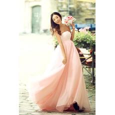 Custom Simple Empire Strapless Satin Sweep Train Wedding Dresses