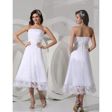 Affordable A-Line Strapless Satin Tea Length Summer Beach Wedding Dresses