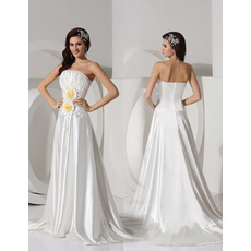Affordable Strapless Court Train Satin Wedding Dresses with Flowers