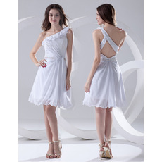 Affordable One Shoulder Chiffon Short Summer Beach Wedding Dresses