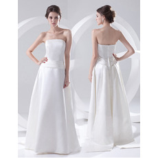 Custom Vintage A-Line Strapless Floor Length Satin Wedding Dresses