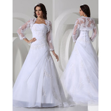 Discount A-Line Strapless Satin Winter Wedding Dresses with Jackets