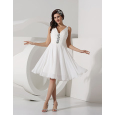 Inexpensive A-Line V-Neck Knee Length Chiffon Beach Wedding Dresses