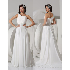 Discount Sexy One Shoulder Brush/ Sweep Train Chiffon Wedding Dresses