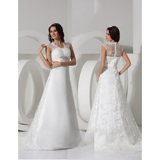 Discount Elegant A-Line Sweep Train Satin Tulle Wedding Dresses