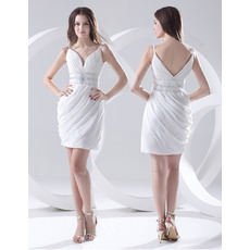Custom Sheath Spaghetti Straps Chiffon Short Beach Wedding Dresses