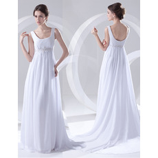 Affordable Vintage Empire Scoop Sweep Train Chiffon Wedding Dresses