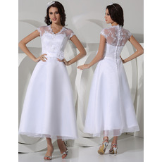 Stylish A-Line Tea Length Satin Garden/ Outdoor Wedding Dresses