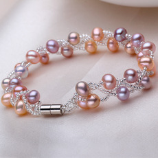 Inexpensive Multicolor 6 - 7mm Freshwater Off-Round Bridal Pearl Bracelets