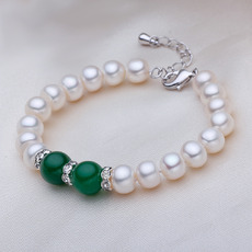 Affordable White 7.5 - 8.5mm Freshwater Off-Round Bridal Pearl Bracelet