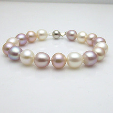 Multicolor 9.5 - 10.5mm Freshwater Off-Round Bridal Pearl Bracelet