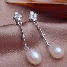 White/ Purple/ Pink 8.5 - 9.5mm Freshwater Drop Pearl Earring Set