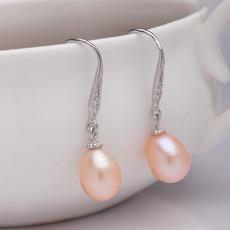 Purple/ Pink/ White 8.5 - 9.5mm Freshwater Drop Pearl Earring Set