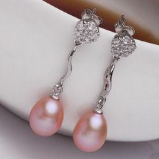Affordable Purple/ Pink/ White 9 - 10mm Freshwater Pearl Earring Set