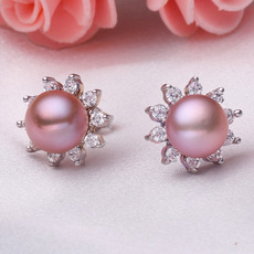 Inexpensive Purple/ Pink/ White 7.5 - 8.5mm Freshwater Pearl Earring Set