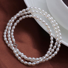Custom White 3 - 4mm Freshwater Drop Pearl Necklace