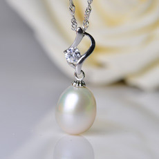 Gorgeous White Drop 9-10mm Freshwater Natural Pearl Pendants