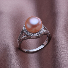 Affordable Pink 10.5 - 11mm Freshwater Off-Round Bridal Pearl Ring