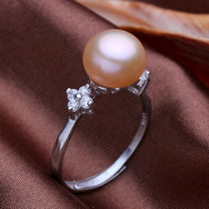 Pink/ White/ Orange 9 - 10mm Freshwater Off-Round Pearl Ring