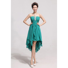 Affordable Asymmetric High-Low Chiffon Empire Halter Bridesmaid Dresses