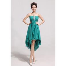Affordable Asymmetric High-Low Chiffon Empire Halter Bridesmaid Dresses
