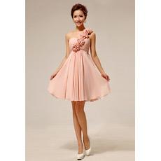 Discount Elegant One Shoulder Chiffon Empire Short Bridesmaid Dresses
