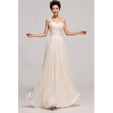 Discount One Shoulder Chiffon Floor Length A-Line Bridesmaid Dresses