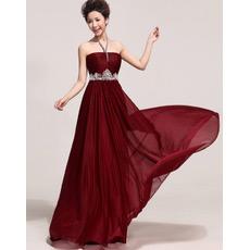 Sexy Halter Chiffon Floor Length Sheath/ Column Bridesmaid Dresses
