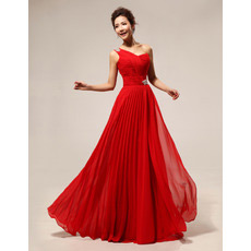 One Shoulder Chiffon Floor Length Sheath Bridesmaid Dresses for Winter