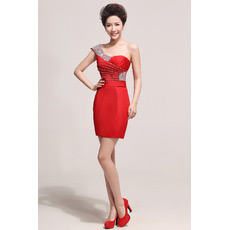 Inexpensive One Shoulder Sheath/ Column Short Satin Bridesmaid Dresses