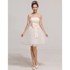Discount Custom A-Line Strapless Short Satin Organza Bridesmaid Dresses