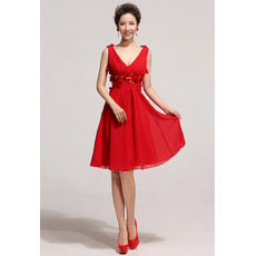 Affordable V-Neck Knee Length Chiffon A-Line Bridesmaid Dresses