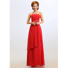 Sheath Strapless Floor Length Chiffon Bridesmaid Dresses for Winter