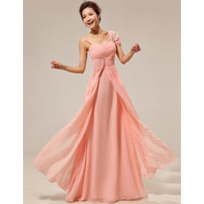 Custom Asymmetric Chiffon Floor Length Sheath Bridesmaid Dresses