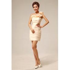 Discount Sexy One Shoulder Column Short Satin Bridesmaid Dresses