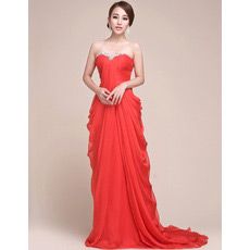 Affordable Chiffon Sheath Sweetheart Sweep Train Evening/ Prom Dresses