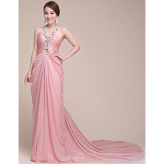 Sexy Elegant Chiffon V-Neck Court Train Sheath Evening/ Prom Dresses