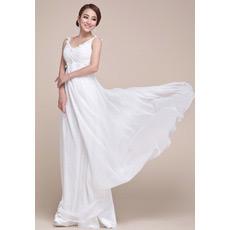 Chiffon Empire Floor Length V-Neck Evening/ Prom Dresses for Spring