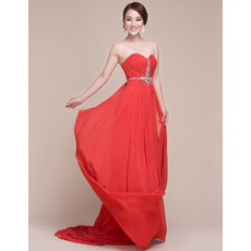 Discount Chiffon Sweetheart Sweep Train Column Evening/ Prom Dresses