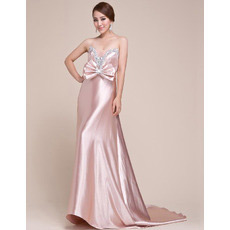 Sexy Formal Satin Sweetheart Sweep Train Sheath Evening/ Prom Dresses