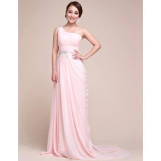 One Shoulder Chiffon Sweep Train Sheath Evening/ Prom Dresses