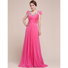 Custom Cap Sleeves Chiffon V-Neck Sweep Train Evening/ Prom Dresses
