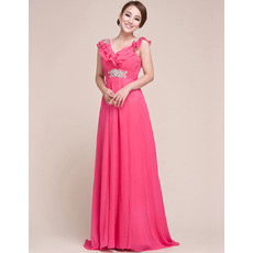 Custom V-Neck Chiffon Sweep Train Sheath/ Column Evening/ Prom Dresses