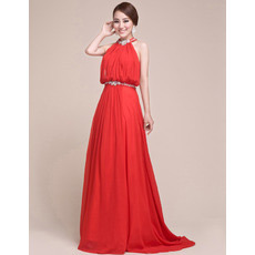 Sheath Halter Chiffon Floor Length Evening/ Prom Dresses for Spring