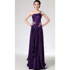 Custom One Shoulder Satin Sheath Floor Length Evening/ Prom Dresses